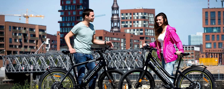 ebike Verleih für Hamburg nahe der Elbphilamonie, viele Modelle verfügbar